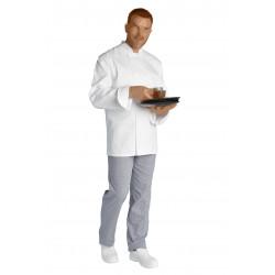 Veste sergé de coton blanc avec aération - STEPHANE - 240 gr/m²