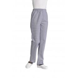 Pantalon de cuisine mixte pied de poule marine 100% coton - DANIEL - 210 gr/m²