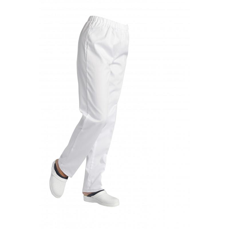 Pantalon santé professionnel médical mixte André en polycoton blanc