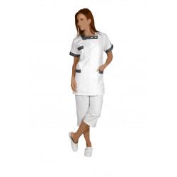 Blouse Manches kimono 3 poches - BERNY - Fermeture à pressions blanches - Polycoton