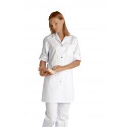 Blouse blanche - Haut 80 cm- Fentes côtés - BRITNEY - Manches réglables - Pressions calottes inox