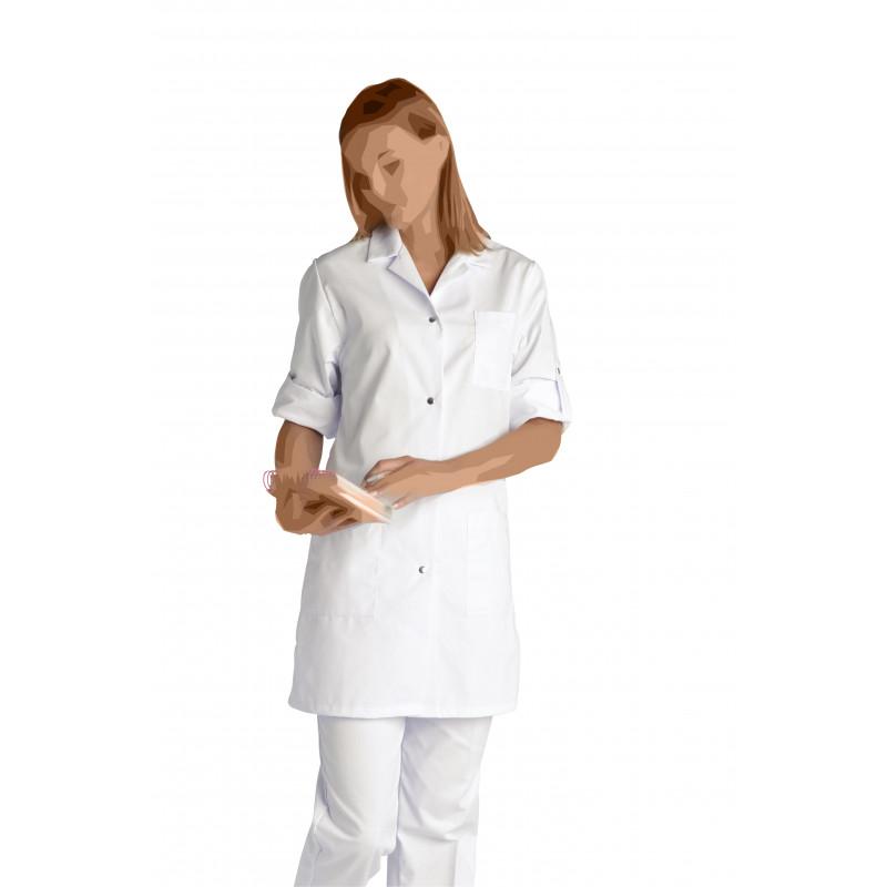 Blouse blanche Britney à manches réglables, en polycoton ou coton