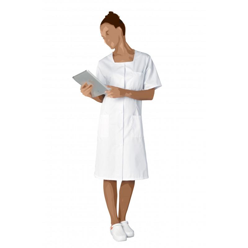Blouse blanche Marianne à 3 poches, en polycoton