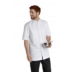 Blouse cuisine à col officier en polycoton - LUCAS - 210 gr/m²