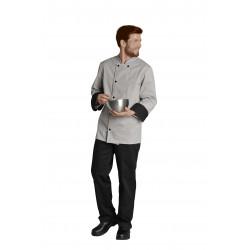 Veste cuisine manches longues en polycoton - MATHIS - 195 gr/m²