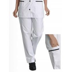 Pantalon ventre plat CLEMENCE - polycoton Blanc