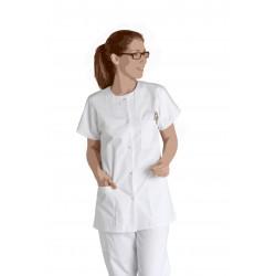 """Blouse blanche """"Colette"""" - Haut 75 cm - Manches courtes Kimono - Fermeture à pressions"""