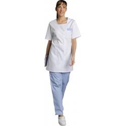 Blouse médicale blanche - Haut 85 cm- Cintrée - MARINA - Fermeture pressions blanches - Polycoton 195 g