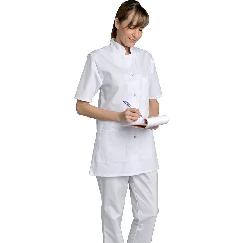 Tunique blanche 100% coton - DENISE - Fermeture à pressions