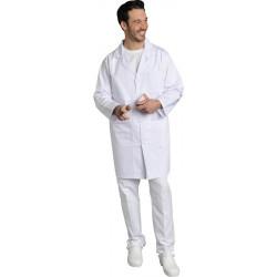 Blouse blanche Xavier à fermeture à pressions, en polycoton ou 100% coton