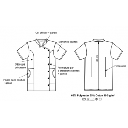 Blouse Odile, ganse et pressions, blanche ou grise, en polycoton