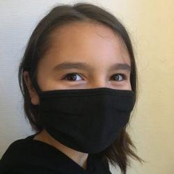 2 Masques tissu jersey noir Catégorie 1 UNS1