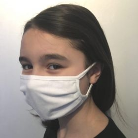 2 masques lavables en jersey blanc UNS1 - Catégorie 1 - Adulte et adolescent